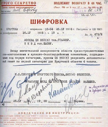 Запрос Филиппова и Малышева на лимиты на 4 тысячи расстрелов в Иркутской области