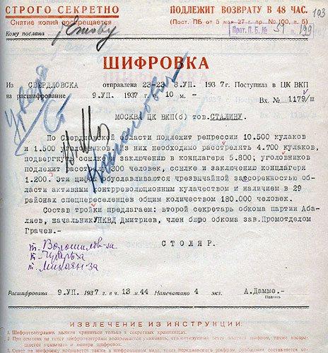 Запрос Столяра лимитов по расстрелам, ссылкам и концлагерям по Свердловской области