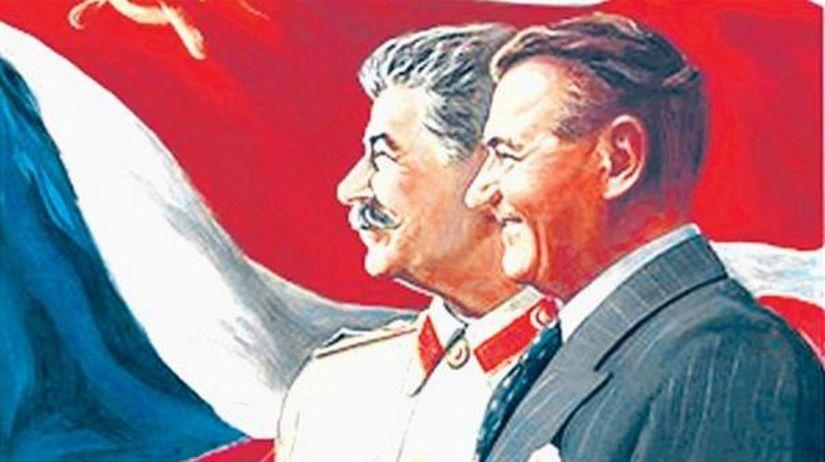 Советский генералиссимус Иосиф Сталин и чехословацкий коммунистический президент Клемент Готвальд